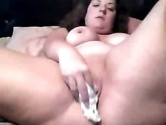 Curly BBW webcam princess furiously fucked herself with dildo