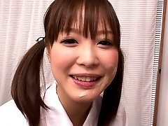 Slutty Japanese teen in uniform Momoka Rin blows sweet cock of camraguy