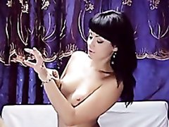 Magnificently gorgeous Russian babe is playing with her glass dildo
