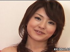 Ruka Uehara is giving interview in front of the camera wearing sex bikini