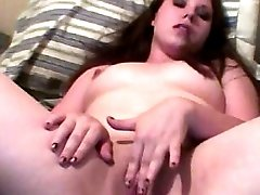 Brunette wife was horny and masturbated with big dildo on cam