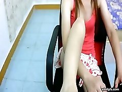 Leggy Asian webcam slut teases with her soles and toes