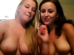 Hot webcam show by two wanton brunette and blonde busty lesbies