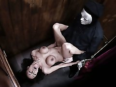 Aroused brunette bitch Alyssa banged hard in the confessional