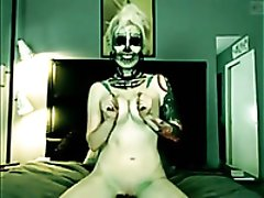 Perverted slender pale frightening Gothic webcam nympho went solo