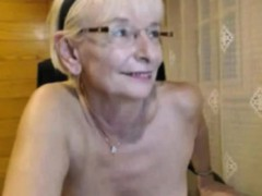 Blonde mature with black panties masturbating
