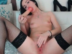 Naughty brunette small tits sucking blacky