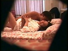 Hotel room hidden cam video - Asian couple from Japan having sex
