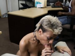 Short hair babe pounded by pawn guy while her BF watches