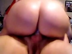 Insane white fat booty riding on my white dick on cam