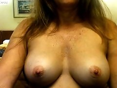 A pair of amazing white perky boobs flashed on webcam