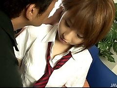 Sweet teen in a school uniform seduced to have a harsh sex on a cam